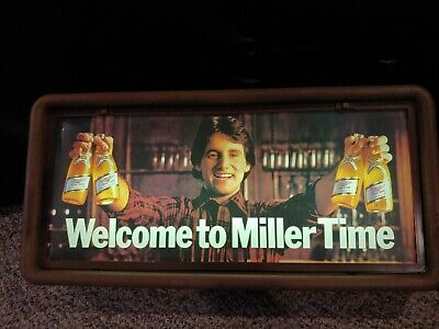 Vintage 1984 Welcome To Miller Time High Life Beer Illuminated Large Bar Sign