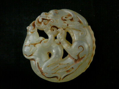 Exquisite Chinese Nephrite Jade Hand Carved *Mouse On Dragon* Pendant E211