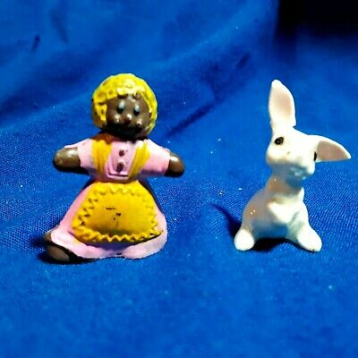 Tiny Gingerbread Lady with bunny -  dollhouse miniature figurines - Unique!