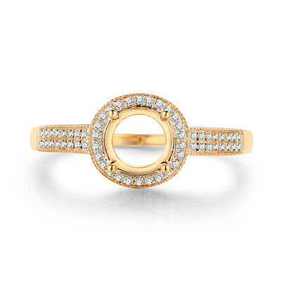 Round Cut 6.5mm Solid 18K Yellow Gold Wedding Real Diamond Halo Semi Mount Ring