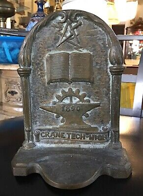 Vintage Bookend Crane Tech-High Chicago Brass/Bronze Founded in 1890