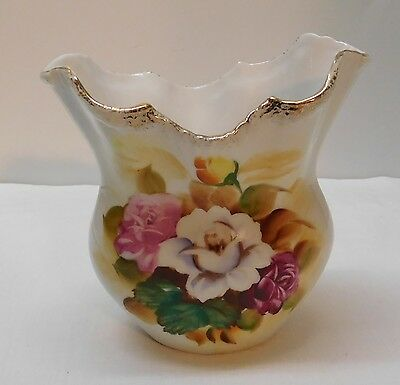 Vase Pink White Purple Yellow Roses with Flared Scalloped Top Gold Trim Vintage