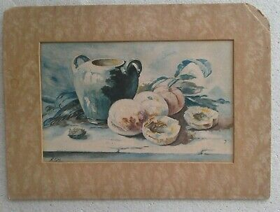 C.1910'S PAINTING...BEAUTIFUL STILL LIFE WITH JUG AND PEACHES,by M.H.G. INITIALS