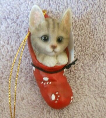 Cold Cast Ceramic Cat Christmas Ornament Tabby Kitten In Red Stocking