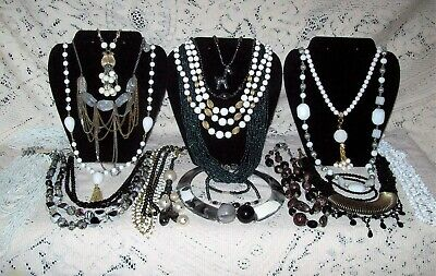22 Piece Modern and Vintage B&W Beaded Necklace Lot