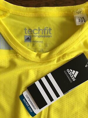 Adidas Techfit Yellow Compression Top - 2XL New with tags