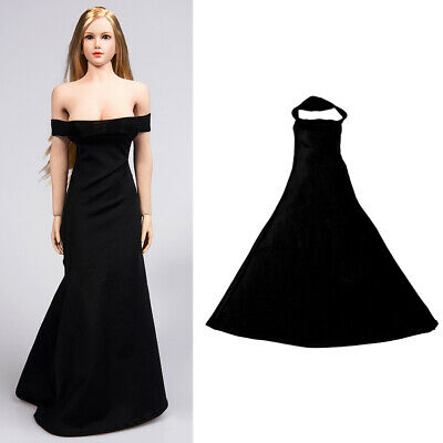 1//6 Black Female Sleeve Lace One-piece Dress Clothes Costume Model Fit PH JIAOU