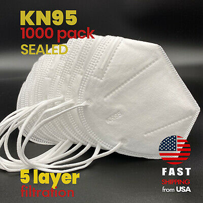[1000 PACK] KN95 SEALED Disposable Safety Face Mask CE Certified Respirator