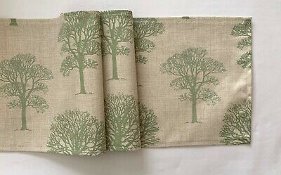 beige and green tree design fabric table runner