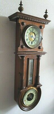 Junghans Clock Barometer Thermometer Weather Station Key Wind 8 Day German