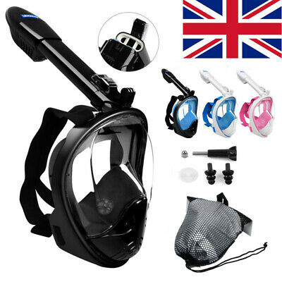 LEUCOTHEA Full Face Snorkel Diving Mask Scuba Swimming Anti-Fog Kids Adults 180°