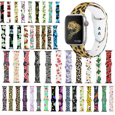 Sport Printed Silicone Strap For iWatch Wrist Band 38mm 42mm 40mm 44mm Wristband