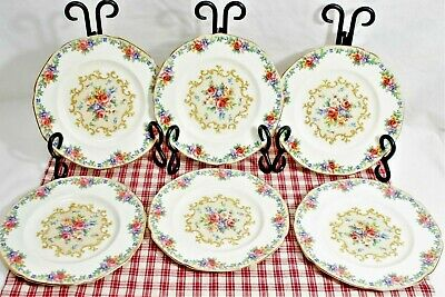 SET of 6 Paragon MINUET Bread + Butter Plates roses on white Double Warrant MINT