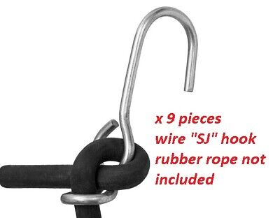 SJ Hooks for Rubber Rope Bungee Shock Cords Tarp Tie Downs 10