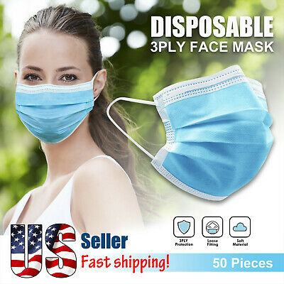 50 PCS 3-PLY Disposable Face Mask Protective Non Medical Earloop Mouth Cover