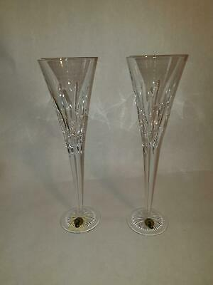 """Waterford Crystal Champagne Flutes Set of Two Heavy Large Wedding 11"""" Marked"""