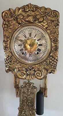 Comtoise Clock French Rare Antique Repeat  Pendulum Rope Weights Key