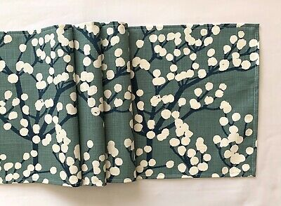 blue and white blossom design fabric table runner
