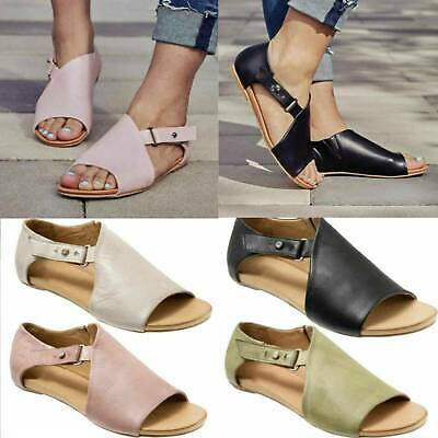 Women Ladies Peep Toe Buckle Flats Sandals Summer Holiday Boots Shoes Sizes