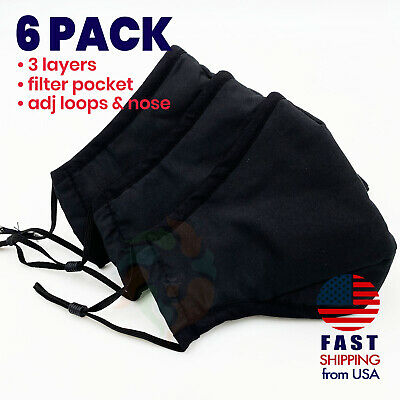 [6 PACK] BLACK 3 Layers Cotton Face Mask Cover Filter Pocket Reusable Washable