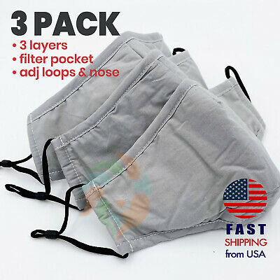 [3 PACK] GRAY 3 Layers Cotton Face Mask Cover Filter Pocket Reusable Washable