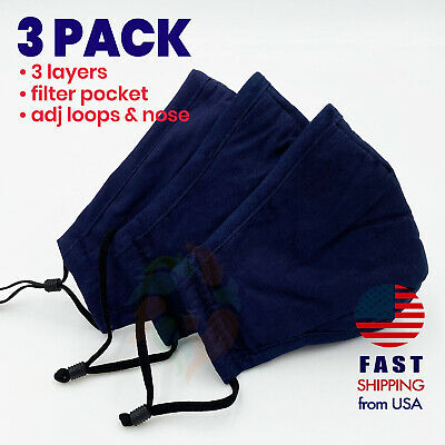 [3 PACK] NAVY BLUE 3 Layers Cotton Face Mask Filter Pocket Reusable Washable