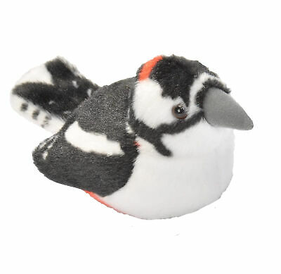 Wild Republic 19501 13-16 cm Great Spotted Woodpecker with Real Bird Calls Plush Toy