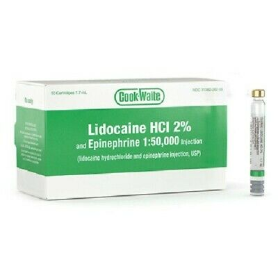 Cook-Waite Lidocaine HCL 2% with Epinephrine 1:50,000 - Box of 50 - 1.7ml Cart