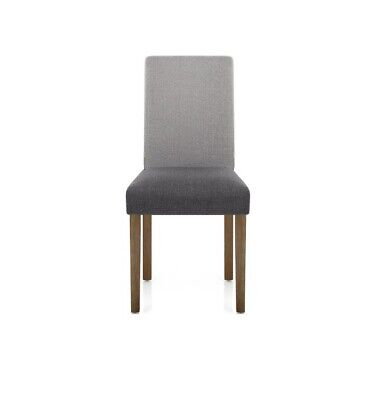 PAIR OF DINING Chairs Grey Oak Painted Seat Back Solid