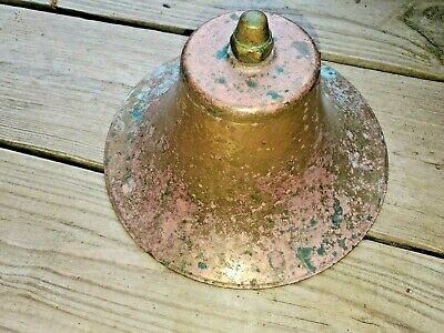"Antique Vintage 8"" Brass Bell Ship, Trolley, Nautical, School, Dinner"