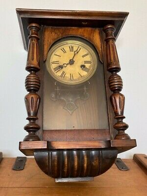 Antique Late Victorian Junghans Walnut Cased Vienna Wall Clock Spares Or Repair