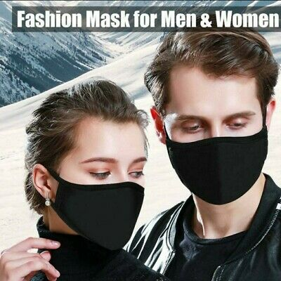 5 Pack - Cotton Three Layer Face Mask - Reusable Washable - BLACK | USA