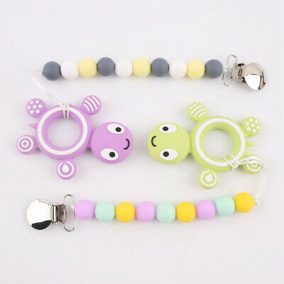Turtle Teether Chew Pendant Silicone Beads Baby Teething Pacifier Clips Holder