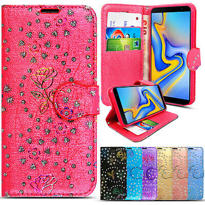 Case For Samsung Galaxy J3 J5 J4 J6 Plus Bling Glitter Leather Flip Wallet Cover