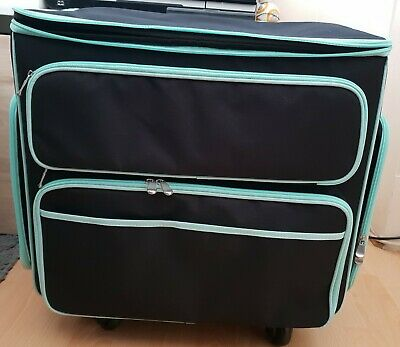 EVERYTHING MARY black and teal rolling storage tote New