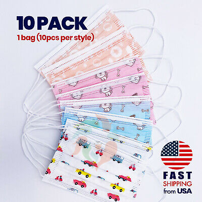 [10 PACK] Kids Disposable Face Mask Non Medical 3 Ply Toddler Child Children