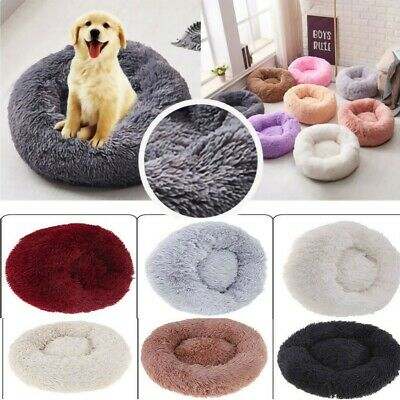 Donut Plush Pet Dog Cat Bed Fluffy Soft Warm Calming Bed Sleeping Kennel Nest A