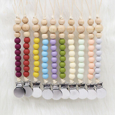 Pacifier Chain Clips Baby Teething Chew Silicone Beads Soother Dummy Holder Toys