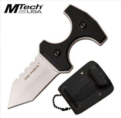 "Tf-Fix013S M-Tech 3.8"" Tactical Silver Neck Knife W/ G10 Handle + Kydex Sheath"