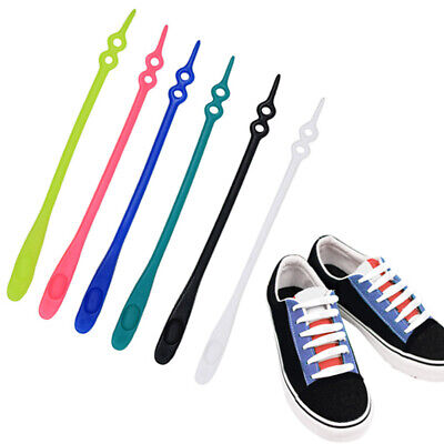 10Pcs/set Easy No Tie Shoelaces Elastic Silicone Flat Lazy Shoe Lace Kids Adult