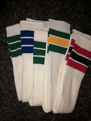 Sears Vintage Over The Calf Colorful Striped Tube Socks 5 Pairs Men's Size 10-14
