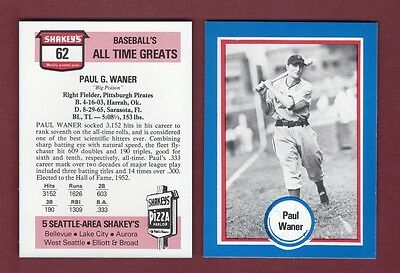 #62 PAUL WANER, Pirates   SHAKEY'S PIZZA Hall of Fame   Baseball All Time Greats