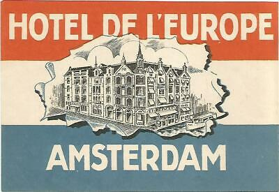 Hotel de l/'Europe ~AMSTERDAM~ Vibrant Old Luggage Label 1955  MINT CONDITION