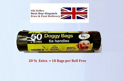 Dog Poo Bags Double Thick Dog Poop Tie Handles Doggy Bags 20% extra