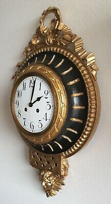 Cartel Clock Rococo Antique Wooden Case Pendulum 8 Day Key Wind