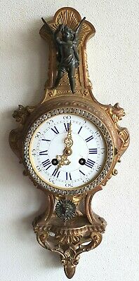 Cartel Clock L.P Japy 1878 43cm Case 8 Day Bells Strike Pendulum Antique French