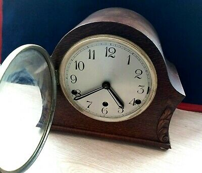 Vintage British made Westminster Chimes Mantle Clock with Pendulum Wooden Case