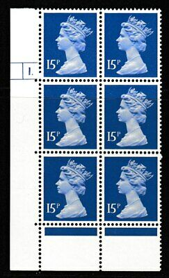 GB, 15p Cylinder Block of 6, Cyl 1 No Dot. PCP1 Paper, Perf  KAMPH.