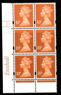 GB Enschede 10p Cylinder Block of 6,Cyl 1 No Dot White Gum  Novaglo Violet Phos