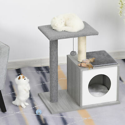 Multi-level Cat Tree Condo with Sisal-Covered Scratching Posts Grey